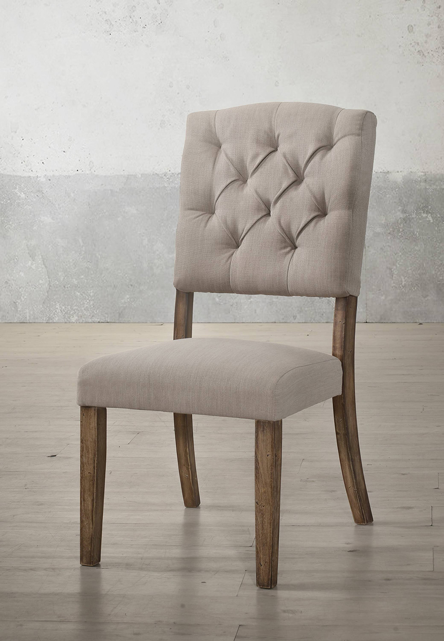 Weathered Oak & Cream Linen Side Chair Angle