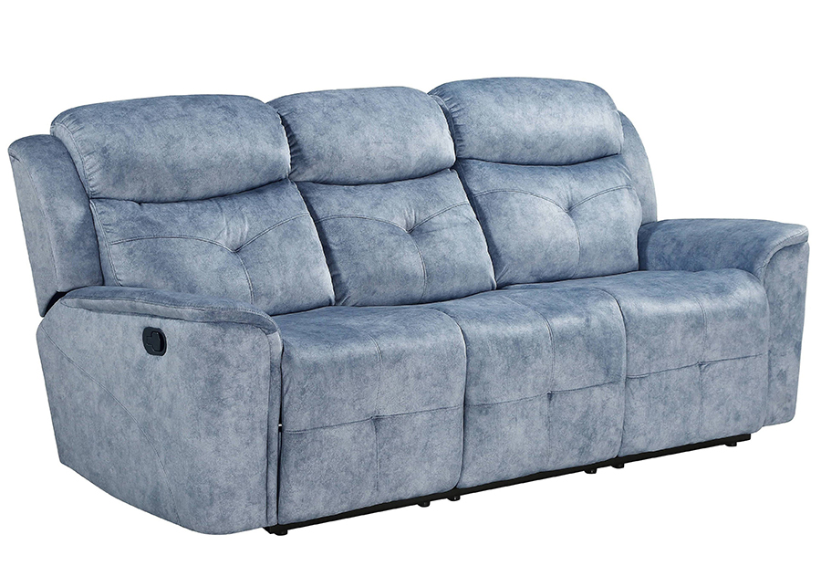 Silver Blue Fabric Reclining Sofa Angle