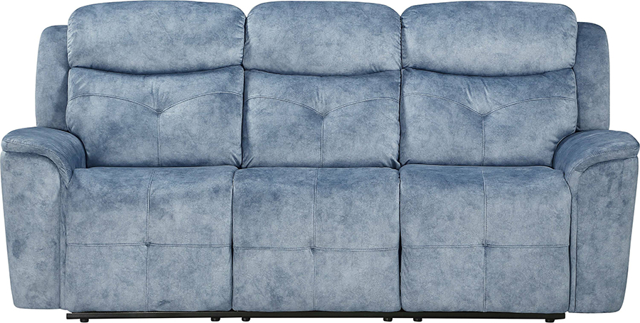 Silver Blue Fabric Reclining Sofa Front