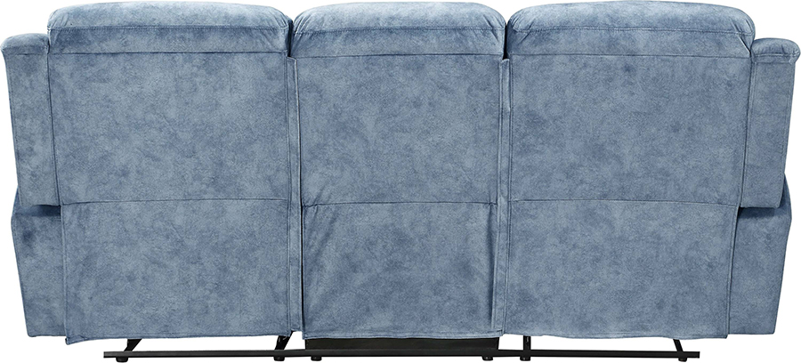 Silver Blue Fabric Reclining Sofa Back