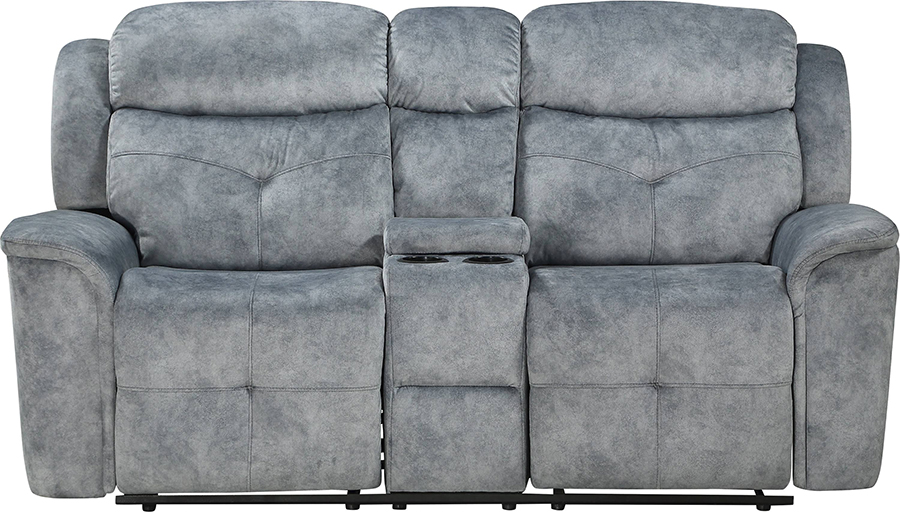 Silver Gray Fabric Reclining Loveseat Front