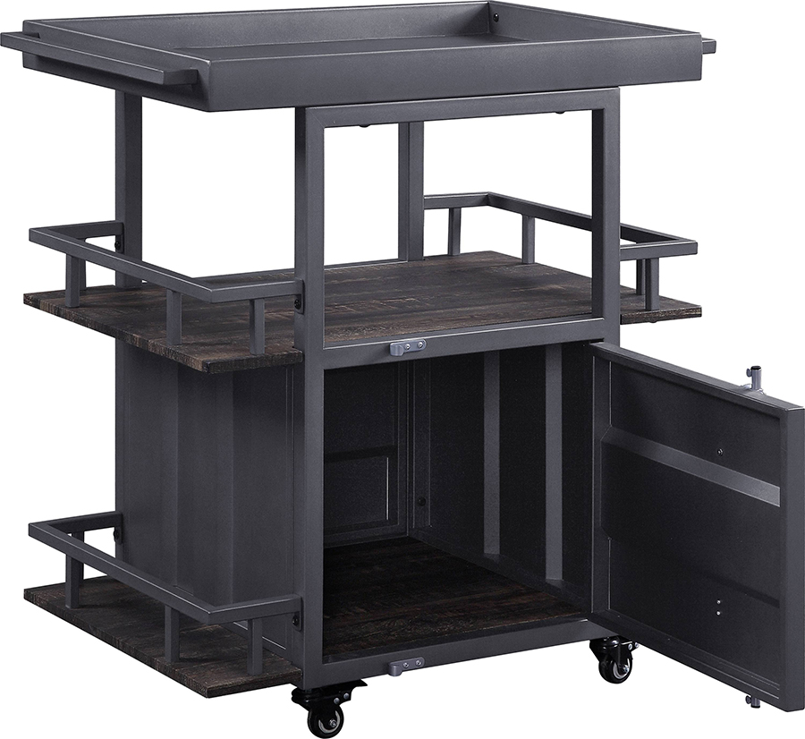 Gunmetal Serving Cart Angle w/ Door Open