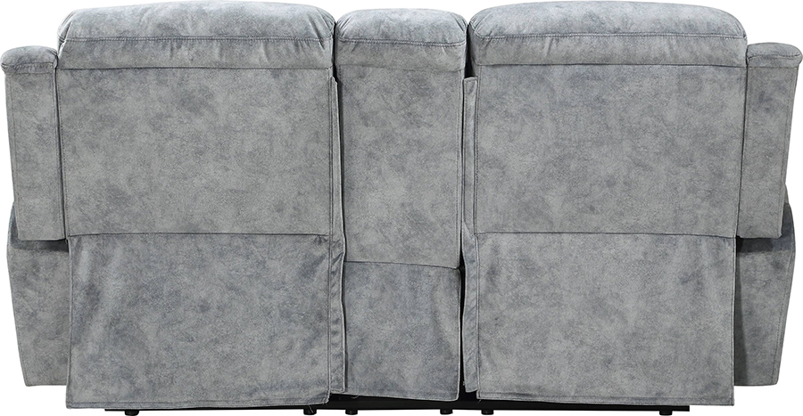 Silver Gray Fabric Reclining Loveseat Back