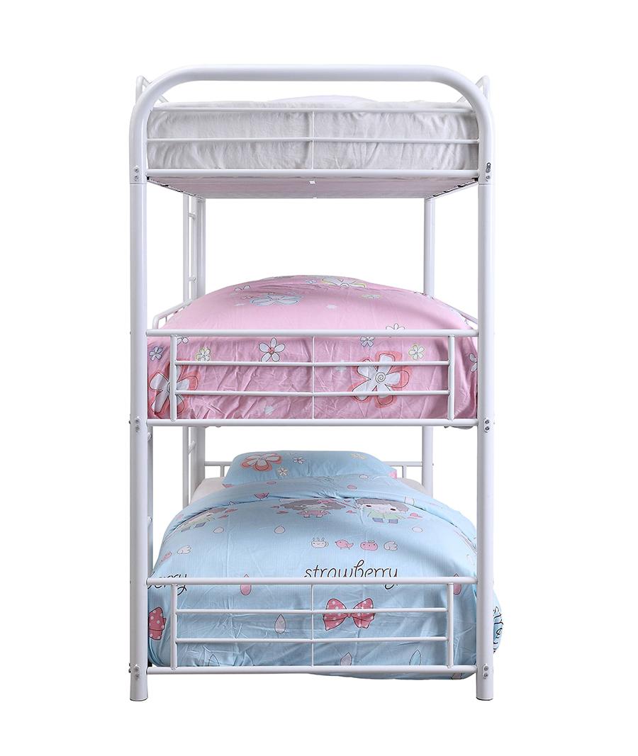 White Triple Metal Bunk Bed Side