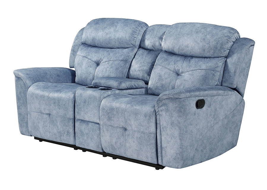 Silver Blue Fabric Reclining Loveseat Angle