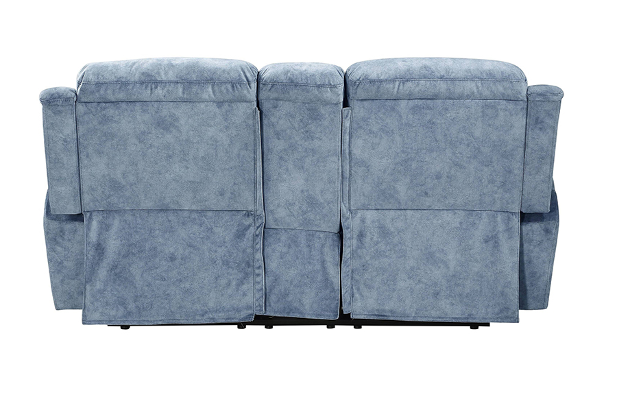Silver Blue Fabric Reclining Loveseat Back