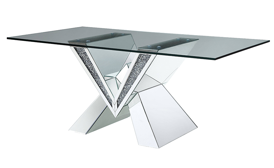 Dining Table Mirrored Based Angle