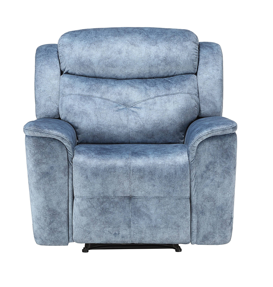 Silver Blue Fabric Recliner Front