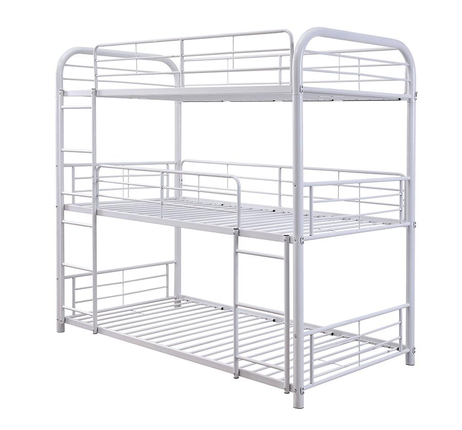 White Triple Metal Bunk Bed Frame Angle