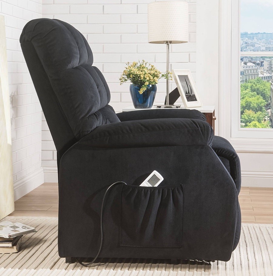 Black Power Lift Recliner Side w/ Massage Controller
