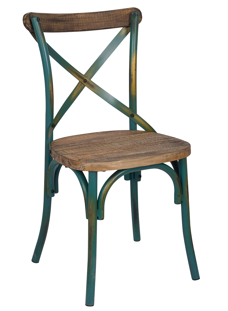 Antique Turquoise Side Chair Angle
