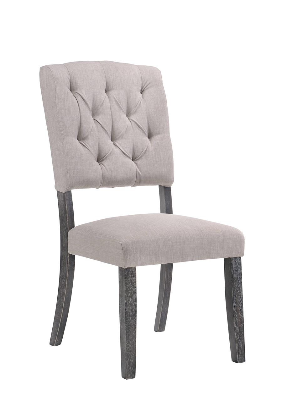 Weathered Gray Oak & Cream Linen Side Chair Angle