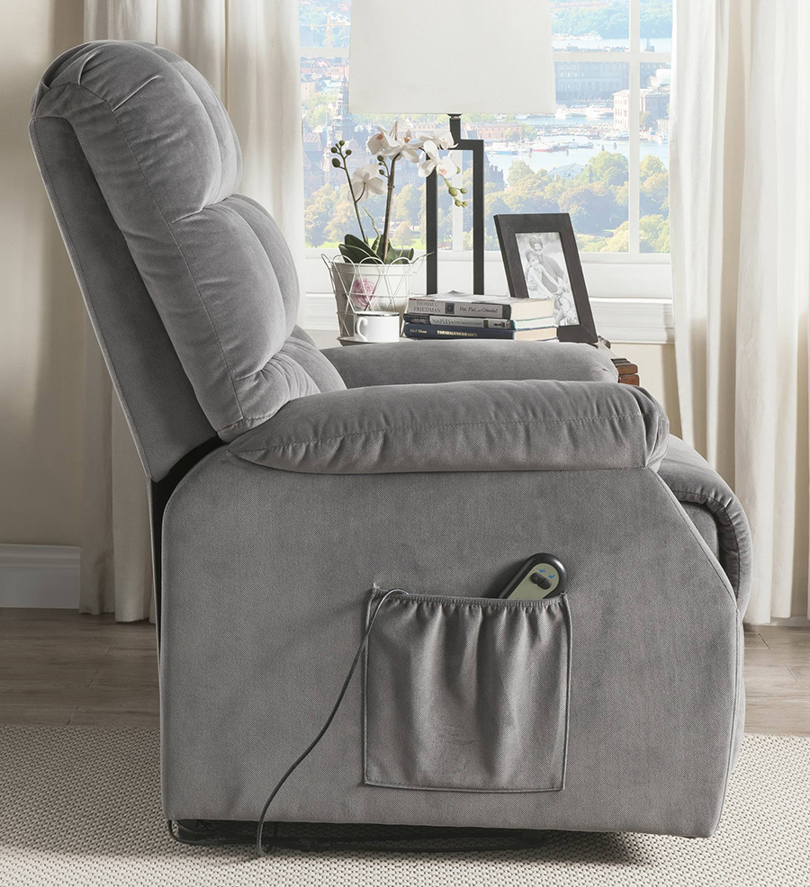 Gray Power Lift Recliner Side w/ Massage Controller