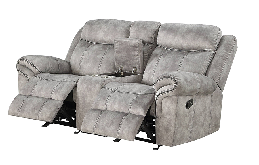 Two Tone Gray Reclining Loveseat Angle