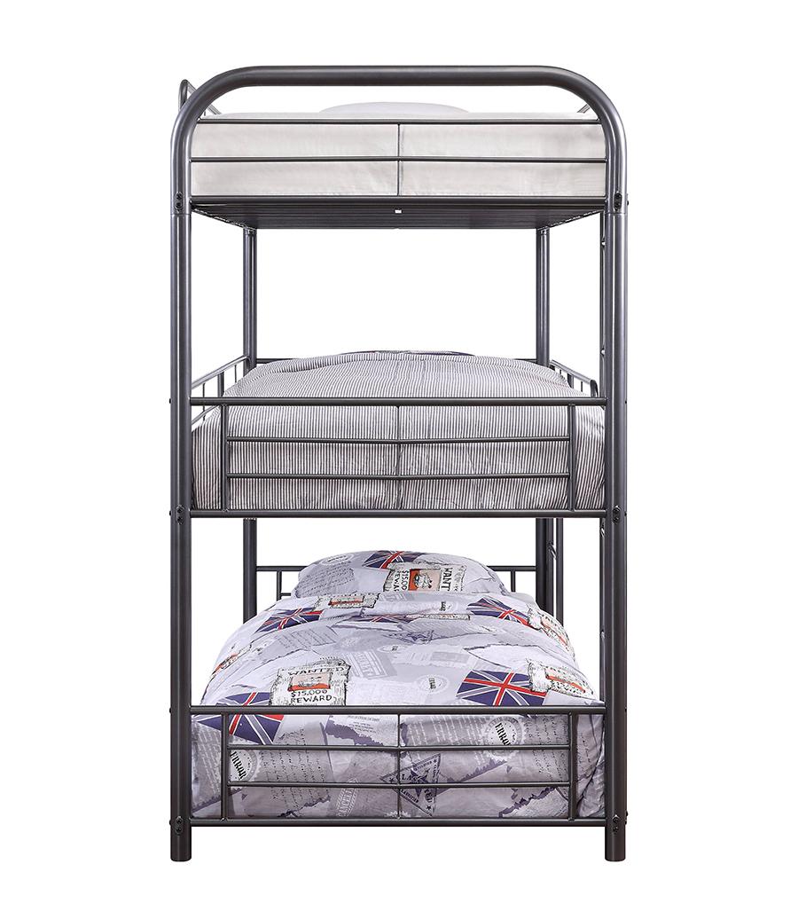 Gunmetal Triple Metal Bunk Bed Side