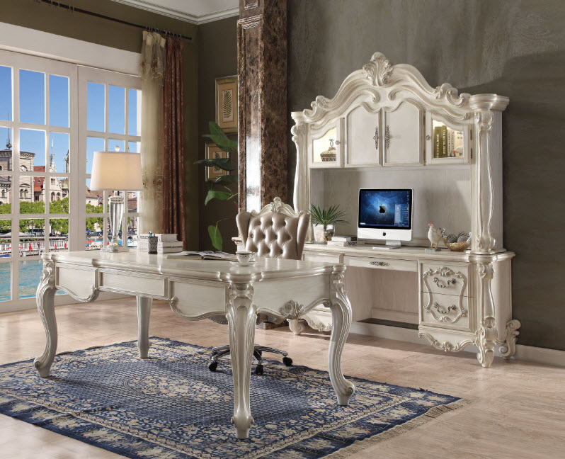 Versailles Bone White Executive Writing Desk
