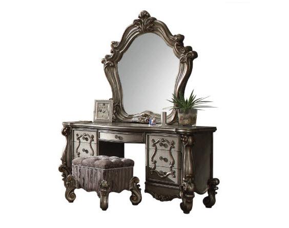 Antique Silver Vanity W/Mirror & Stool