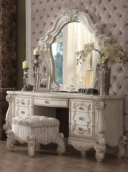 Bone White Vanity W/Mirror & Stool