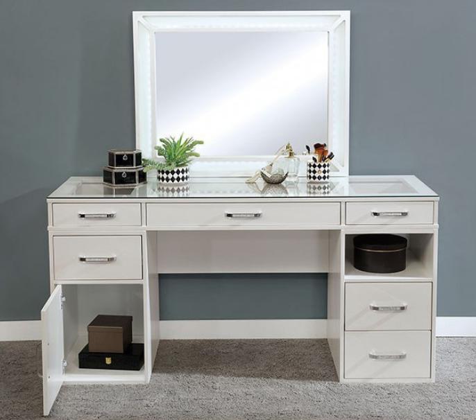 Luminous White Vanity & Mirror
