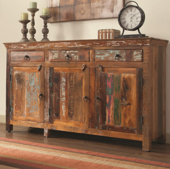Rustic 3 Door Accent Cabinet