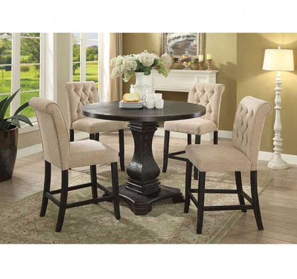 Nerissa Rustic Round Counter Height Dining Table