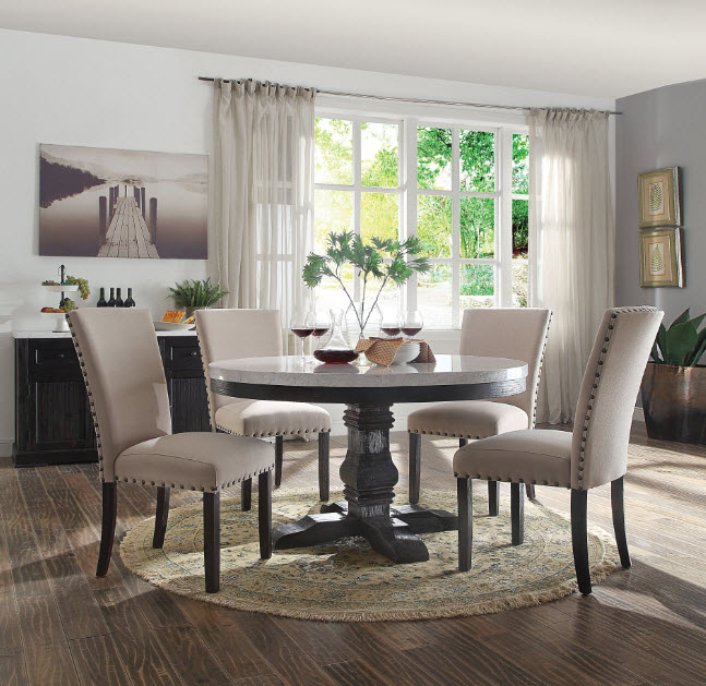 Nolan Round White Marble Top Dining Table