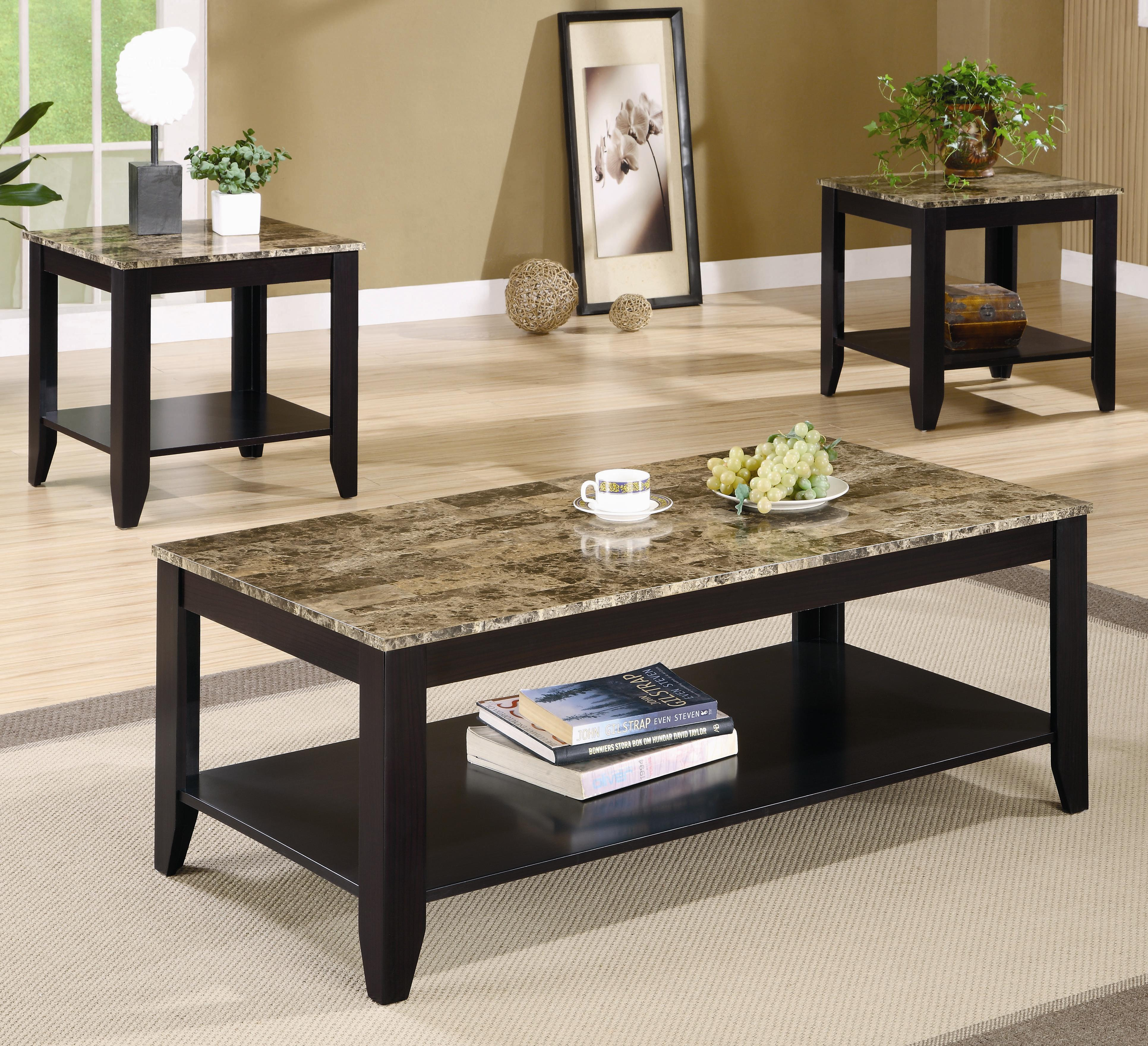- 3 Piece Occasional Table Set With Shelf And Marble Look Top